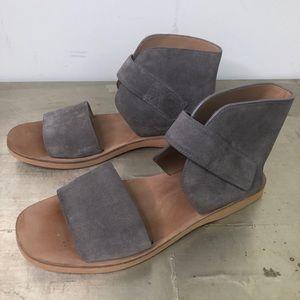 Vince Sage Flat Sandal Gray Suede Velcro Strap